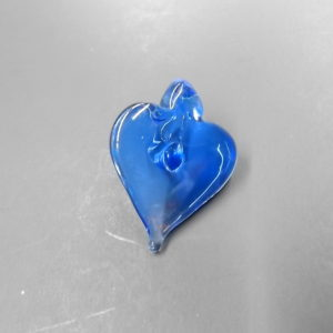 Blue Heart Hand Blown Necklace Pendant