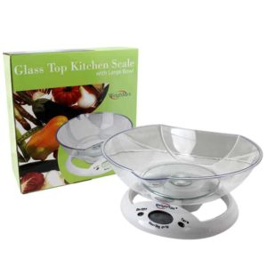 Glass Top Kitchen Scale with Large Bowl