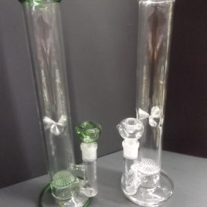 Large Straight Tube Disc Perc Bong